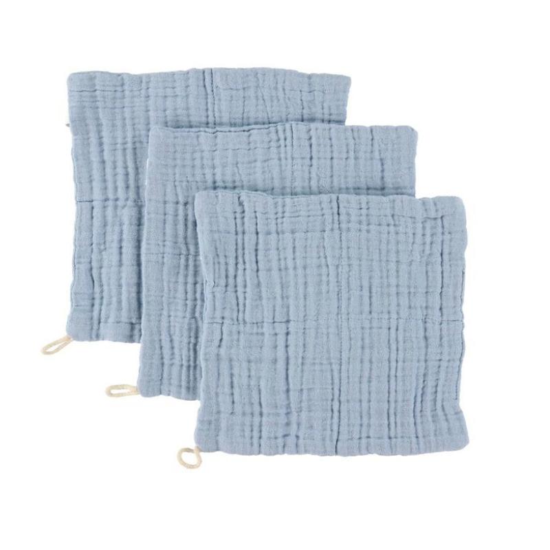 Immagine di Sebra® Set di 3 panni per il bagnetto Powder Blue 20x20