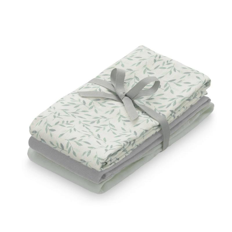Immagine di CamCam® Mussole Mix Mix Green Leaves, Dusty Green, Grey 3 pezzi 70x70