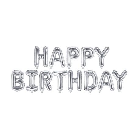 Immagine di Party Deco® Palloncini Happy Birthday Silver