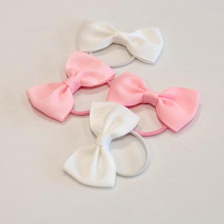 Immagine di Elastici per capelli Fiocco Ø3,5cm 4 pezzi White & Pink