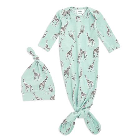 Immagine di Aden+Anais® Confezione regalo Sacco nanna e berretto Comfort Knit (0-3M) Jade Giraffe