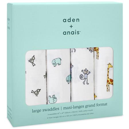Aden+Anais® Set di 4 pannolini tetra Jungle Jam 120x120
