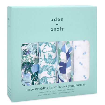 Aden+Anais® Set di 4 pannolini tetra Dancing Tigers 120x120
